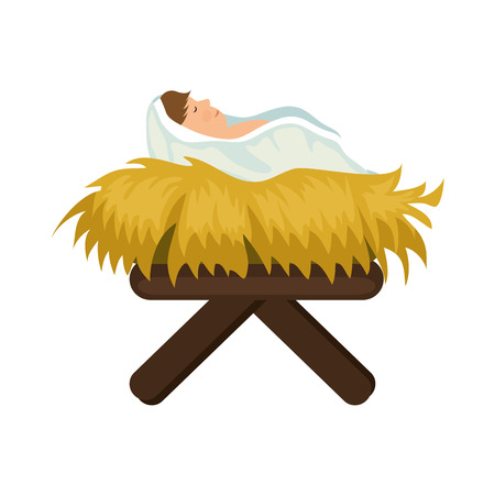 Icono de Jesús bebé sobre fondo blanco ilustración de vector de diseño colorido Foto de archivo - 81624028