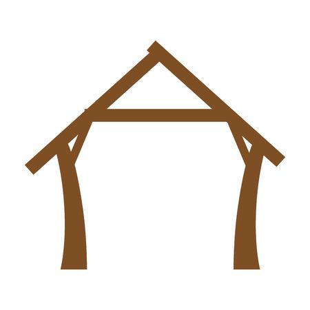 白い背景のベクトル図に飼い葉桶家のアイコン