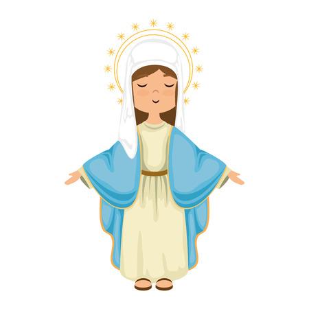 Jungfrau Maria der Karikatur über bunter Design-Vektorillustration des weißen Hintergrundes