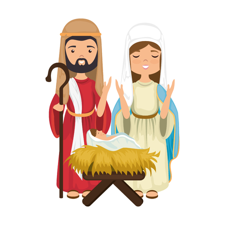 Virgin mary and saint joseph icon over white background colorful design  vector illustration