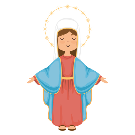 cartoon virgin mary icon over white background colorful design vector illustration 版權商用圖片 - 81623593