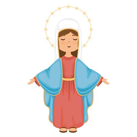 Karikatur Jungfrau mary Icon über weißem Hintergrund bunte Design Vektor-Illustration