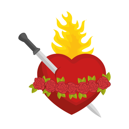 sacred heart icon over white background colorful design vector illustration