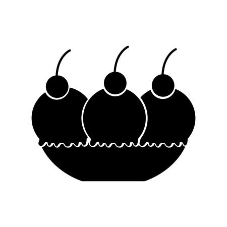 Delicious ice cream basket vector illustration design Ilustração