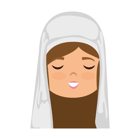 biblical: cartoon virgin mary face icon over white background colorful design vector illustration