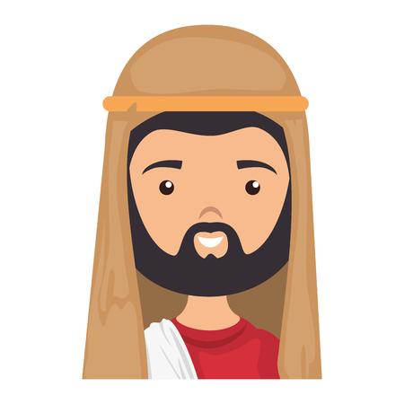 cartoon saint joseph icon over white background colorful design vector illustration