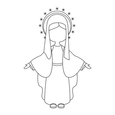Maagd Maria-pictogram op witte achtergrond vectorillustratie