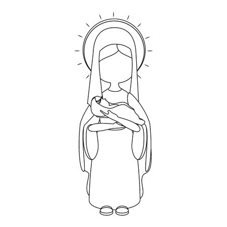 black maria: Virgin mary cartoon icon vector illustration graphic design