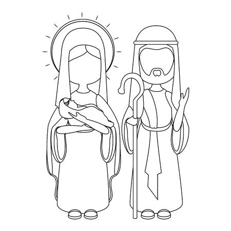 ナザレのヨセフと聖母マリアのアイコン ベクトルのイラスト グラフィックのデザイン