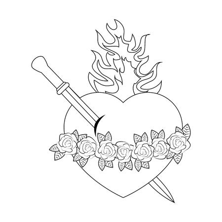 Katholieke heilige hart symbool pictogram vector illustratie grafisch ontwerp