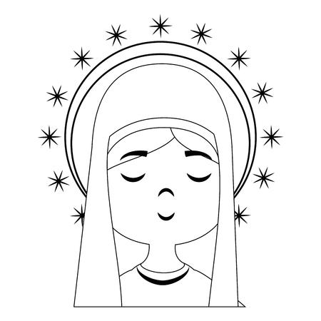 성모 마리아 만화 아이콘 벡터 일러스트 그래픽 디자인