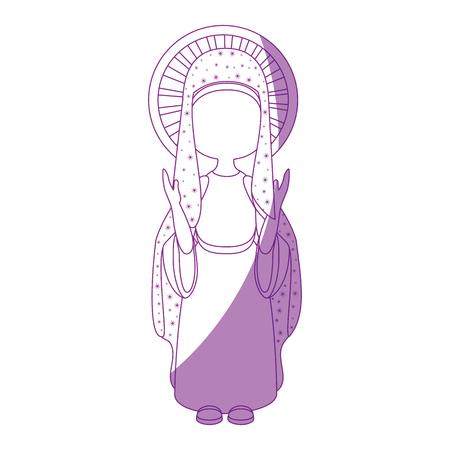 Virgin Mary cartoon pictogram vector illustratie grafisch ontwerp Stock Illustratie