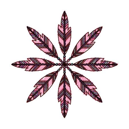 Boho estilo plumas decorativas ilustración vectorial diseño Foto de archivo - 81633365