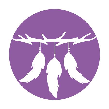 Boho estilo plumas decorativas ilustración vectorial diseño Foto de archivo - 81633395