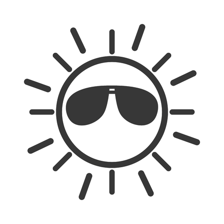 sun with sunglasses character vector illustration design