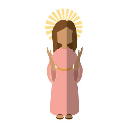 Maagdelijk pictogram van de het pictogram vectorillustratie van Mary het beeldverhaal