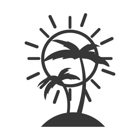 tree palm beach with sun vector illustration design