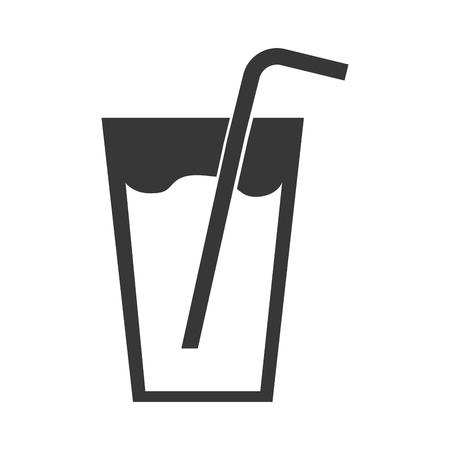 fresh juice drink with straw vector illustration design