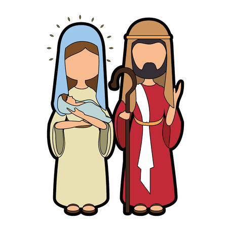 Saint Joseph and virgin mary icon vector illustration graphic design icon vector illustration graphic design