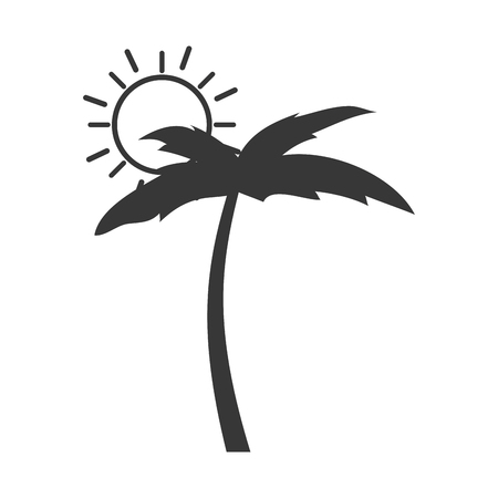 tree palm beach with sun vector illustration design