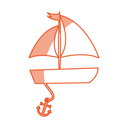 sailboat sea with anchor vector illustration design