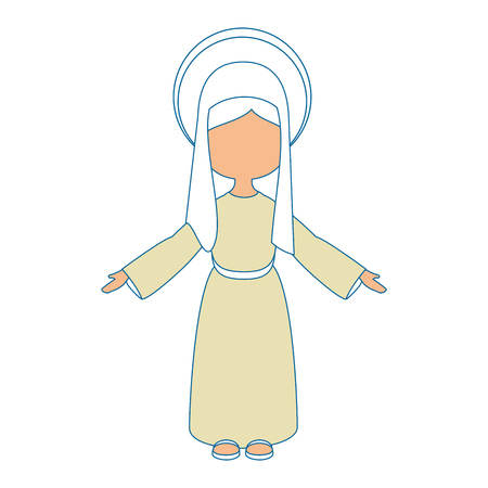 Virgin mary cartoon icon vector illustration graphic design