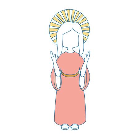 catholicism: Virgin mary cartoon icon vector illustration graphic design