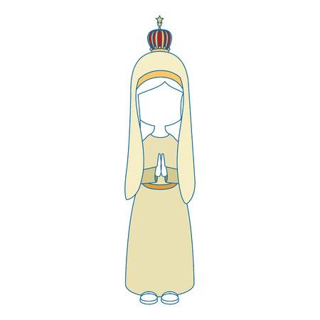 Progettazione grafica dell'illustrazione di vettore dell'icona del fumetto di vergine Maria Archivio Fotografico - 81633698