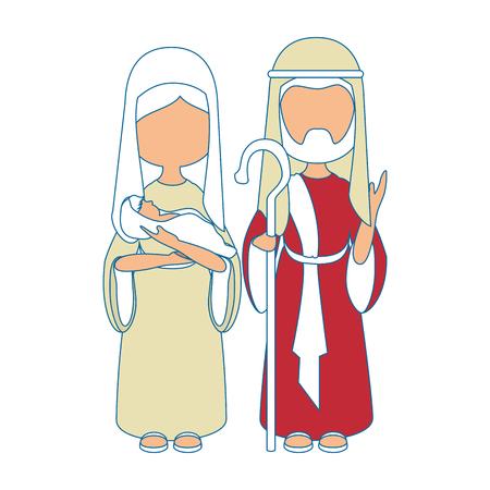 Saint Joseph and virgin mary icon vector illustration graphic design icon vector illustration graphic design