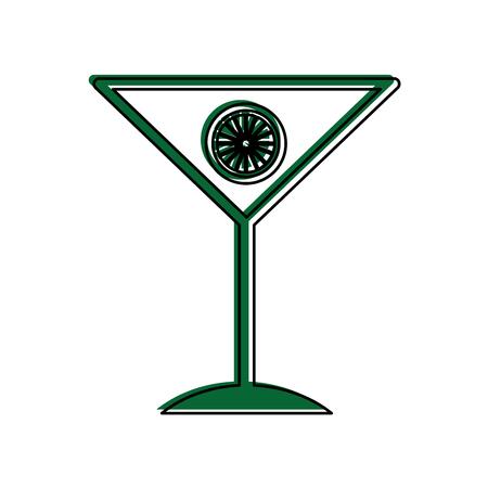 tropical cocktail cup with orange fruit vector illustration design