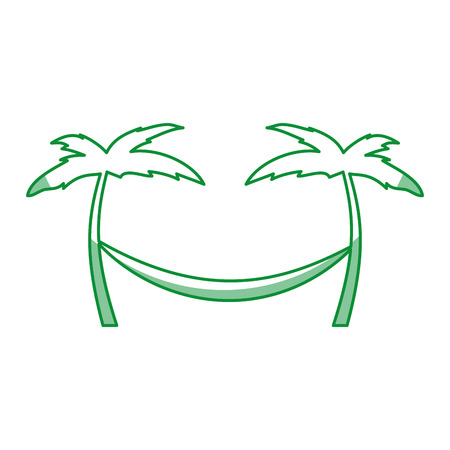 tree palm beach with hammock vector illustration design