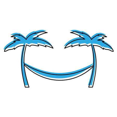 tree palm beach with hammock vector illustration design