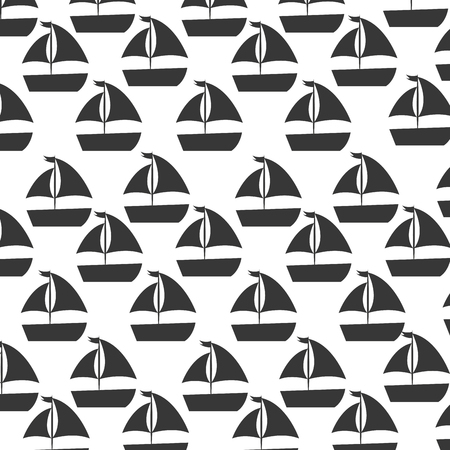 sailboat sea pattern background vector illustration design