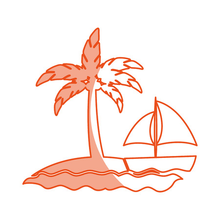 tree palm beach with sailboat vector illustration design
