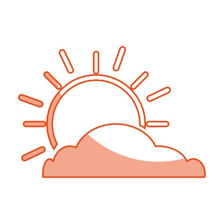 summer sun with cloud scene vector illustration design