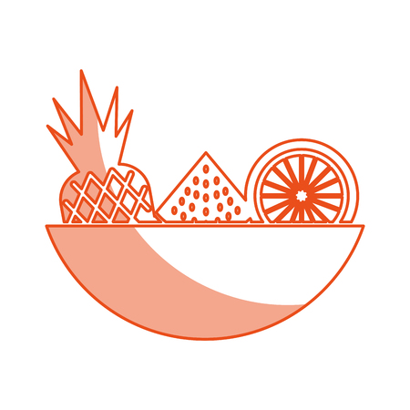 tray with tropical fruits vector illustration design