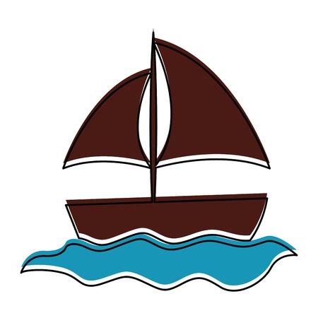 ヨット海分離アイコン ベクトル イラスト デザイン