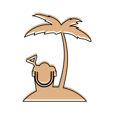 tree palm beach with sand bucket vector illustration design