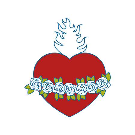 Catholic sacred heart symbol icon vector illustration graphic design Illusztráció