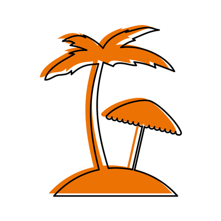 tree palm beach with umbrella vector illustration design