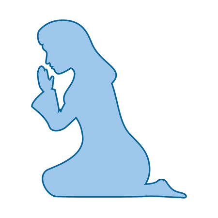 children silhouettes: Virgin mary cartoon icon vector illustration graphic design