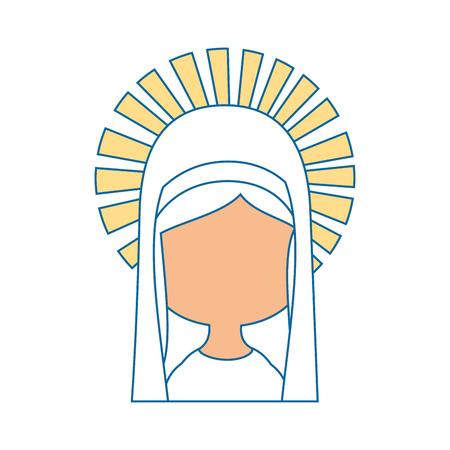 Virgen mary dibujos animados iconos ilustración vectorial diseño gráfico Foto de archivo - 81633750