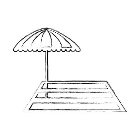 beach umbrella with rug vector illustration design Illustration