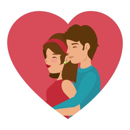 Schöne und romantische Paar Icon Vektor-Illustration Grafik-Design Standard-Bild - 81633752