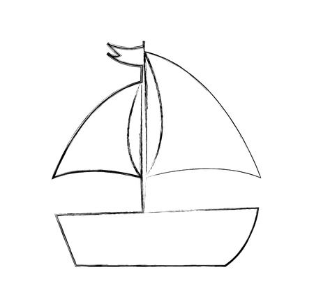 żaglowe morze pojedyncze ikony ilustracji wektorowych projektowania