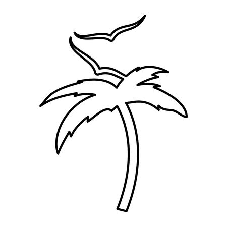 tree palm beach with gulls vector illustration design