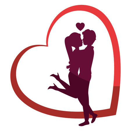 Schöne und romantische Paar Icon Vektor-Illustration Grafik-Design Standard-Bild - 81637550