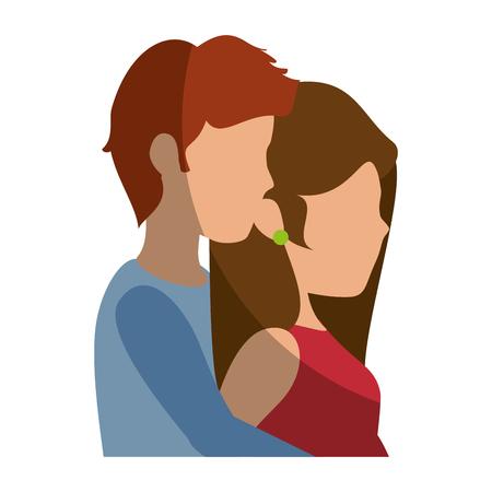 美しく、ロマンチックなカップルのアイコン ベクトル イラスト グラフィック デザイン