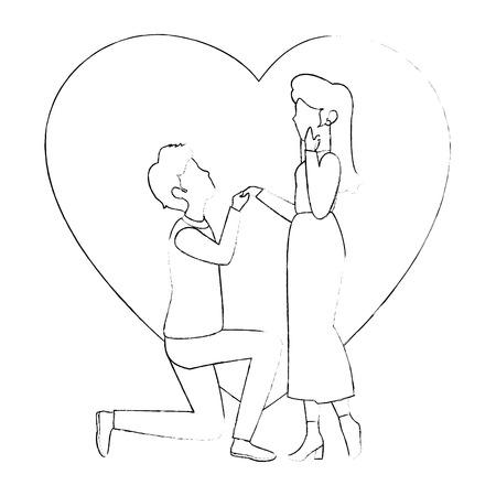 Hermosa y romántica pareja iconos ilustración vectorial diseño gráfico