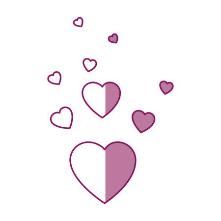 Corações e amor decoração ícone ilustração vetorial design gráfico
